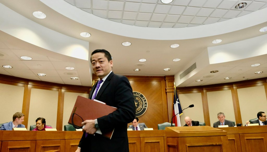 State Rep. Gene Wu, D-Houston, at the Texas Capitol during a hearing of the House Transportation Committee (KEN HERMAN / American-Statesman).