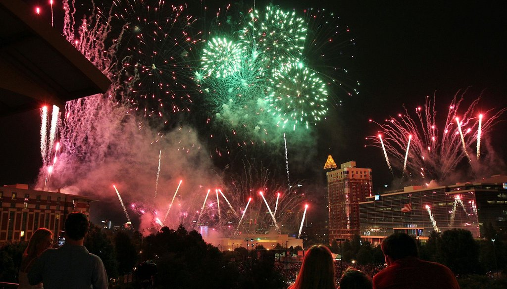 Spectators enjoy a fireworks show in Atlanta on July 4, 2012. Georgia lawmakers are considering legislation that would allow more types of fireworks to be sold in the state.
