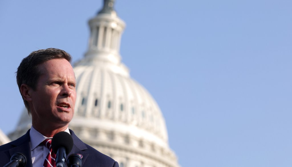 U.S. Rep. Rodney Davis (R-IL) speaks during a news conference in front of the U.S. Capitol on July 27, 2021 in Washington, DC. (Alex Wong/Getty Images)