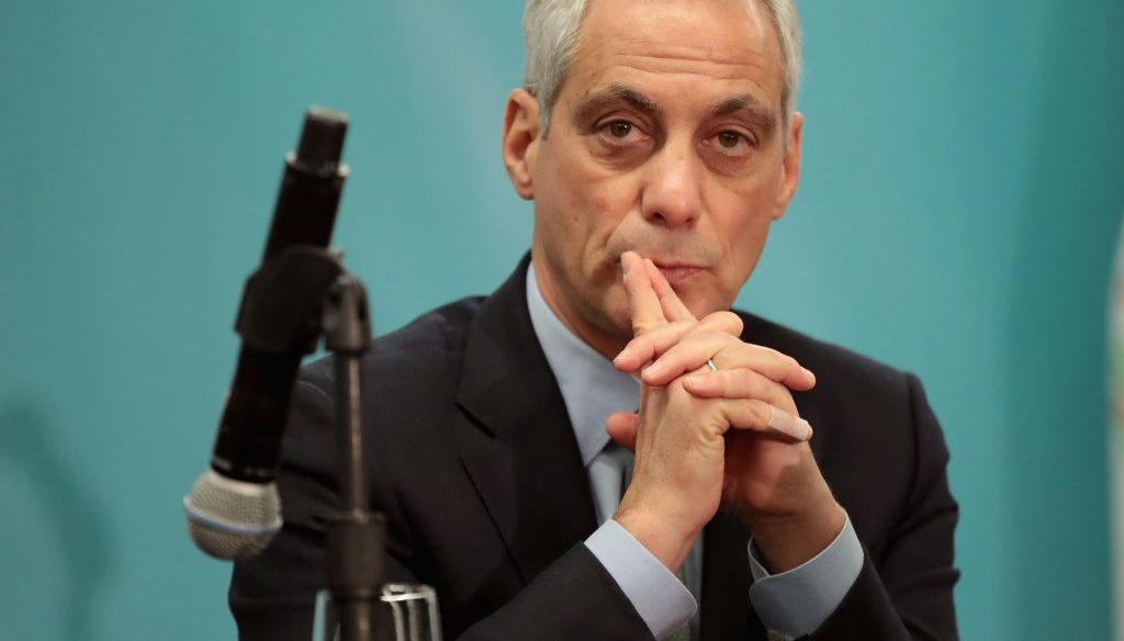 Chicago Mayor Rahm Emanuel speaks to the press during an event on December 5, 2017 in Chicago, Illinois. (Photo by Scott Olson/Getty Images)