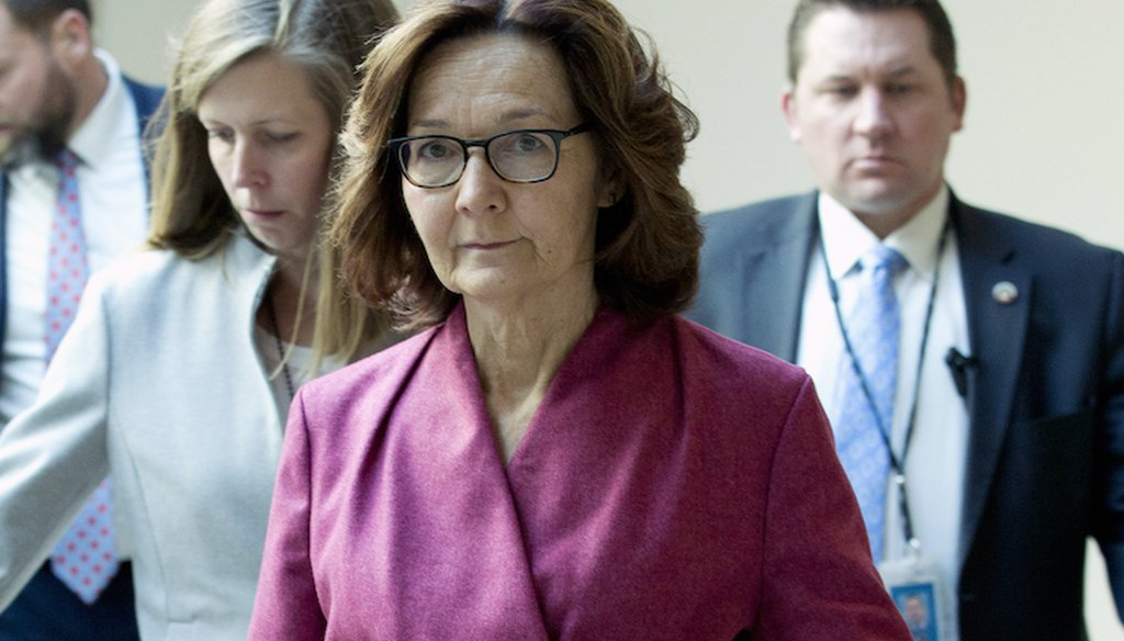 CIA Director Gina Haspel arrives to conduct briefings for members of Congress on a targeted killing of an Iran senior military commander, Wednesday, Jan. 8, 2020, on Capitol Hill in Washington. (AP)