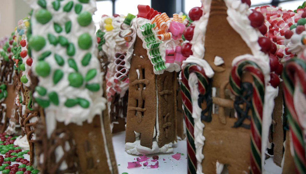 The humble gingerbread house (though not one of those above) has become the target of misinformed and dated claims about wasteful federal spending. (AP)