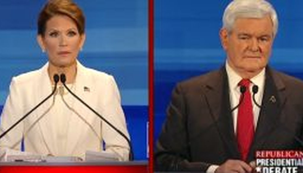 While sparring with Newt Gingrich, Michele Bachmann said PolitiFact rated everything she'd said in the previous debate as true. But Bachmann's claim wasn't accurate.