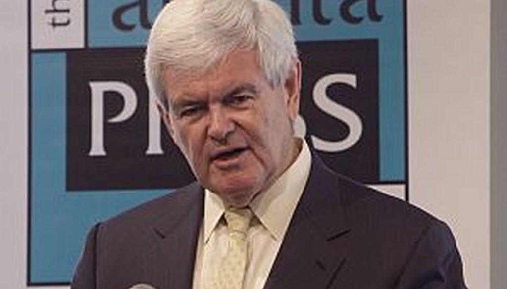 Newt Gingrich spoke at the Atlanta Press Club Wednesday.
