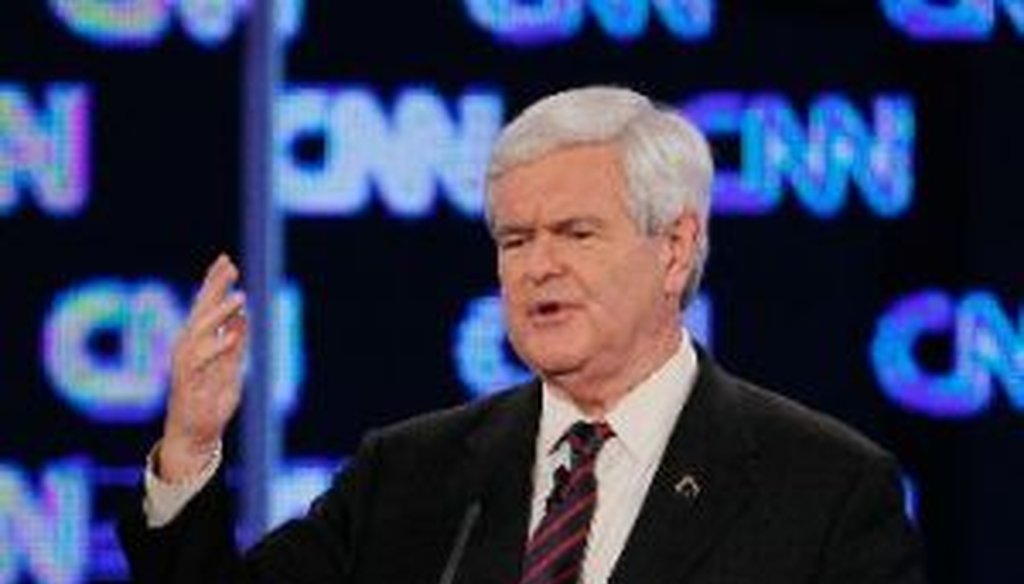 Republican presidential candidate and former speaker of the House Newt Gingrich participates in a debate sponsored by CNN, the Republican Party of Florida and the Hispanic Leadership Network on Jan. 26, 2012, in Jacksonville, Fla.