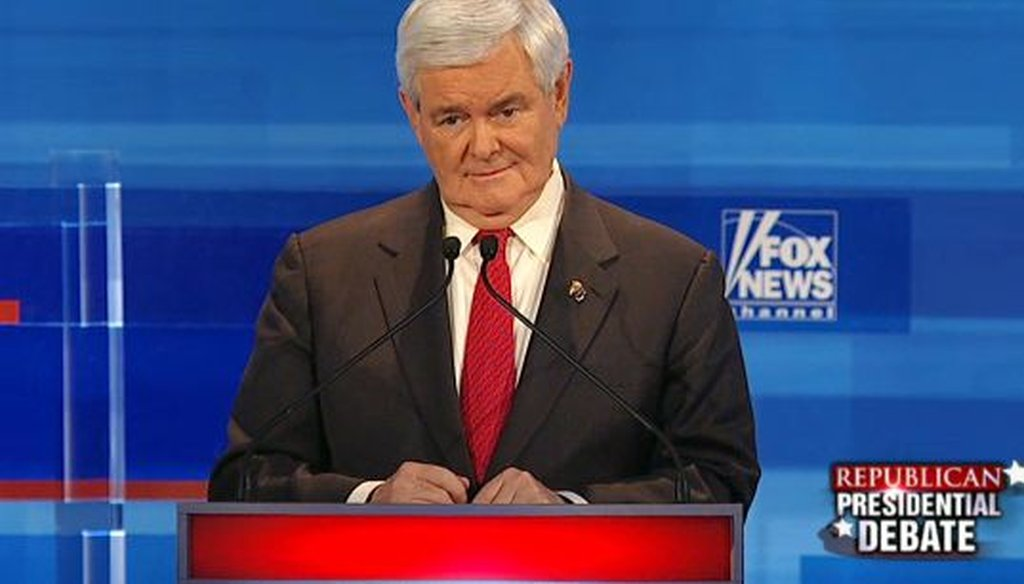 Newt Gingrich touted his accomplishments as House speaker during a Dec. 15, 2011, debate in Sioux City, Iowa.
