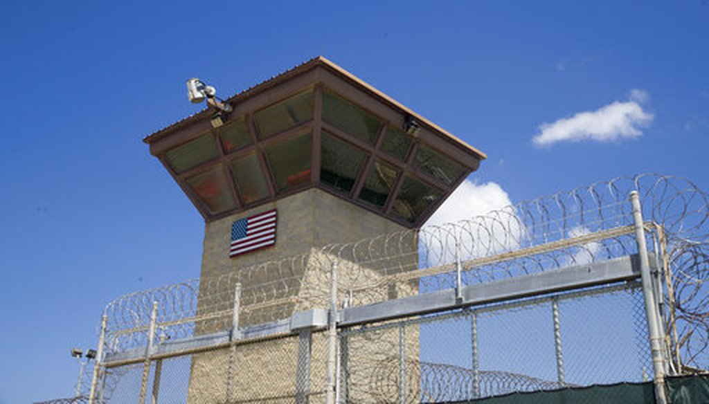 In this photo reviewed by U.S. military officials, a U.S. flag is displayed on the control tower of the Camp VI detention facility, Wednesday, April 17, 2019, in Guantanamo Bay Naval Base, Cuba. (AP)