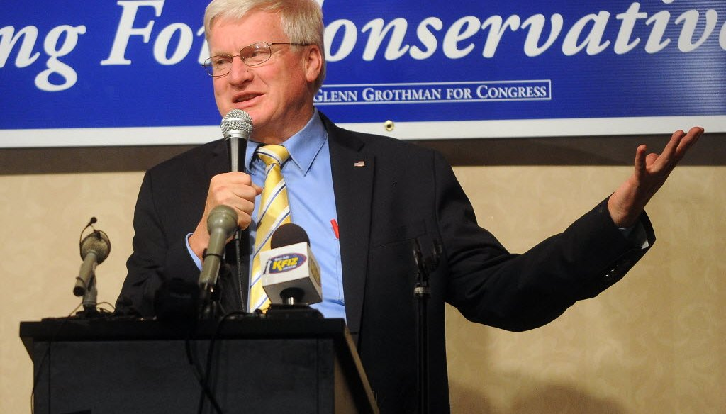 Republican Wisconsin state Sen. Glenn Grothman on Nov. 4, 2014, celebrating his election win for a seat in Congress.