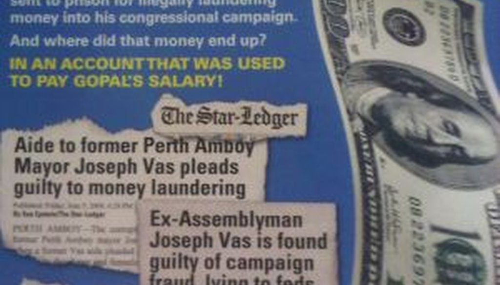 A political advertisement circulating in New Jersey Assembly District 11