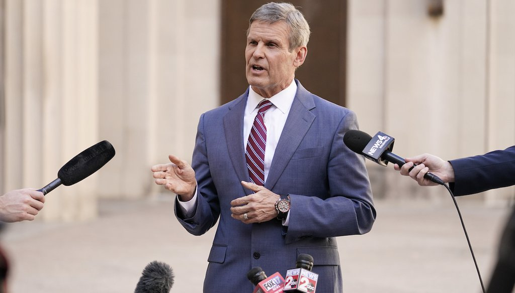 Tennessee Gov. Bill Lee answers questions after he spoke to a joint session of the legislature in Nashville, Tenn., Jan  19, 2021. A recent TikTok post and blog make false claims about the effect of an executive order he signed in August. (AP)