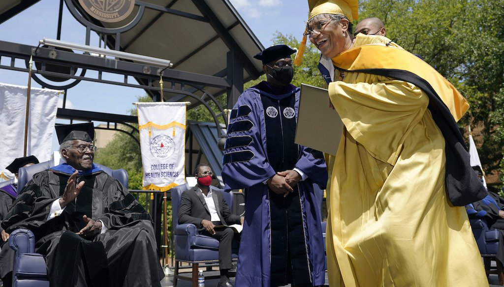 A graduation ceremony on May 15, 2021, at Jackson State University in Mississippi, an HBCU, awarded diplomas to members of the Class of 1970. The 1970 ceremony was canceled after white law enforcement officers killed 2 people during a campus protest. (AP)