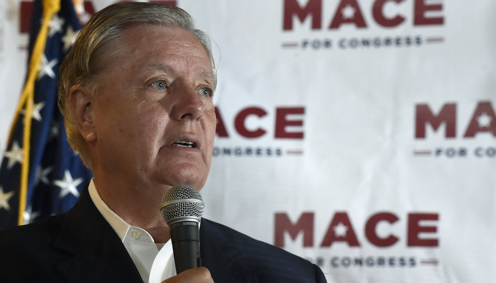 U.S. Sen. Lindsey Graham, R-S.C., speaks at a campaign event for U.S. House candidate Nancy Mace in North Charleston, S.C. (AP Photo/Meg Kinnard)
