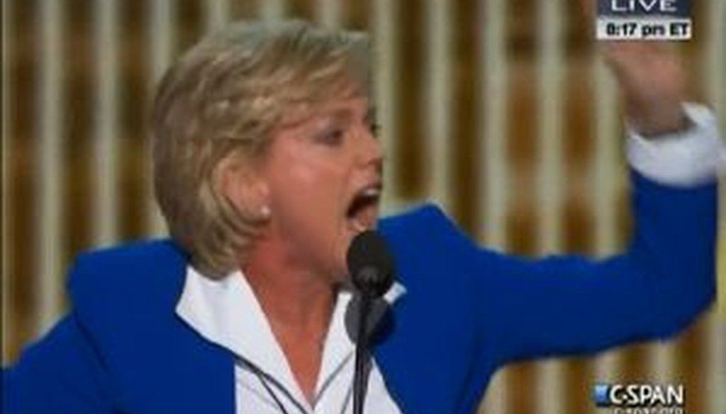 Former Michigan Gov. Jennifer Granholm addresses the Democratic National Convention in Charlotte, N.C.