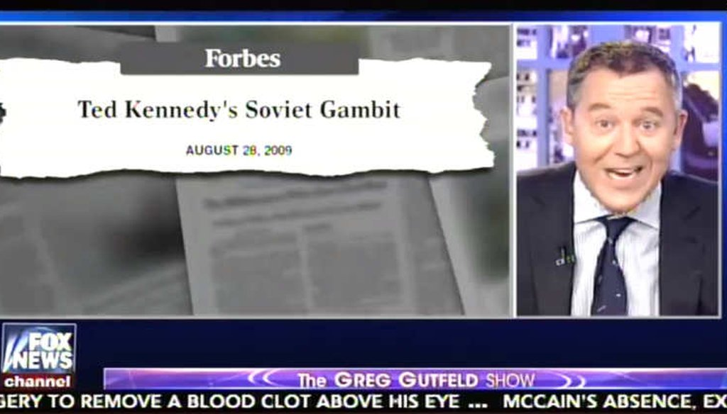 Fox News host Greg Gutfeld revived an old and unconfirmed story about deceased Sen. Ted Kennedy's overtures to Soviet leaders in 1983. (Screenshot)