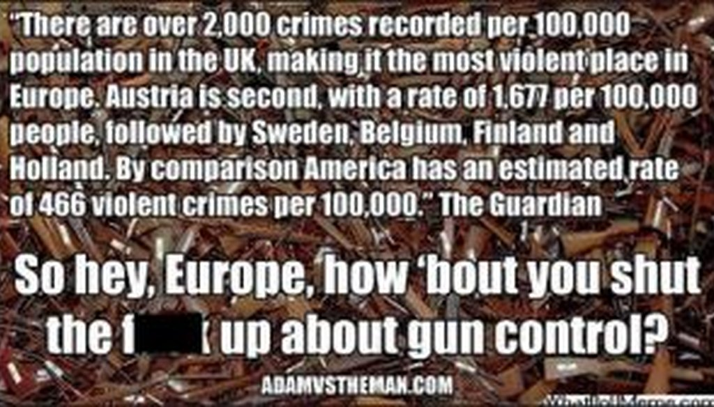 Is Europe really far more violent than the United States, as this meme suggests?