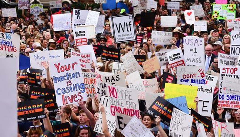 Protesters seeking gun reform gathered outside the Florida Capitol one week after the shooting at a Parkland, Fla., high school that killed 17 people. (Andrew Salinero/USA Today Network)