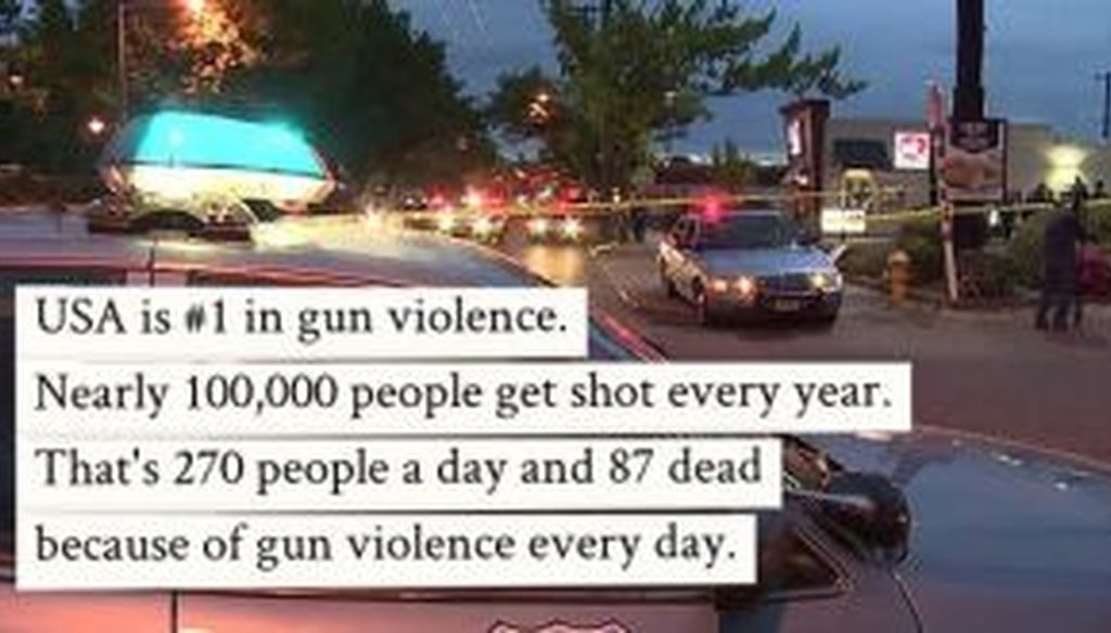 A reader sent us this Facebook post on gun violence in the United States. Is it accurate?