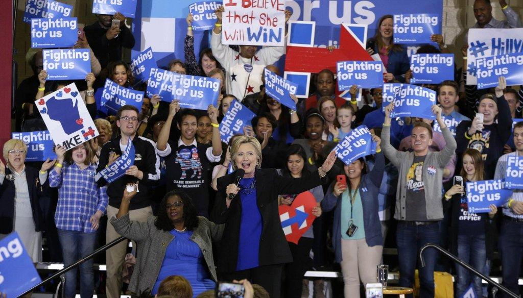 Democratic U.S. Rep. Gwen Moore of Milwaukee (left) introduced Democratic presidential front runner Hillary Clinton at a Clinton rally in Milwaukee on March 28, 2016. (Rick Wood photo)