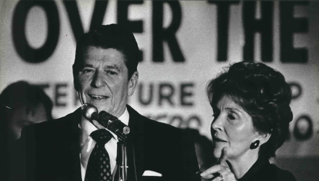 President Ronald Reagan and his wife, Nancy, shown at Serb Hall in Milwaukee. (Milwaukee Journal Sentinel files)