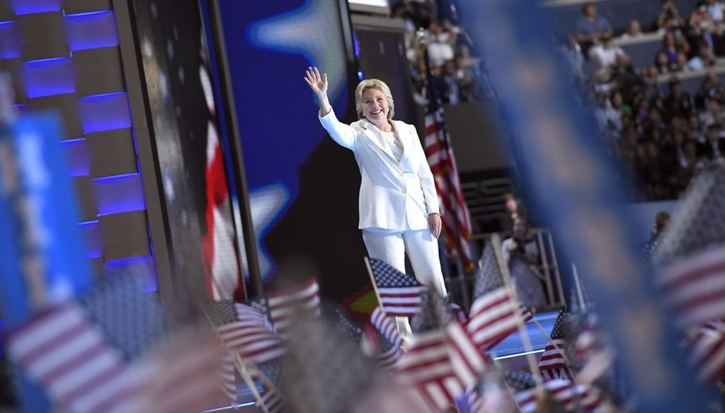 Democratic presidential nominee Hillary Clinton takes the stage during the final day of the Democratic National Convention in Philadelphia, PA. (AP)