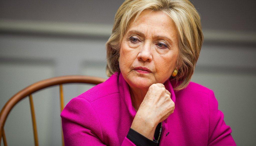 Democratic presidential candidate Hillary Clinton speaks with the Monitor editorial board on Tuesday, Dec. 8, 2015.  (ELIZABETH FRANTZ / Monitor staff)