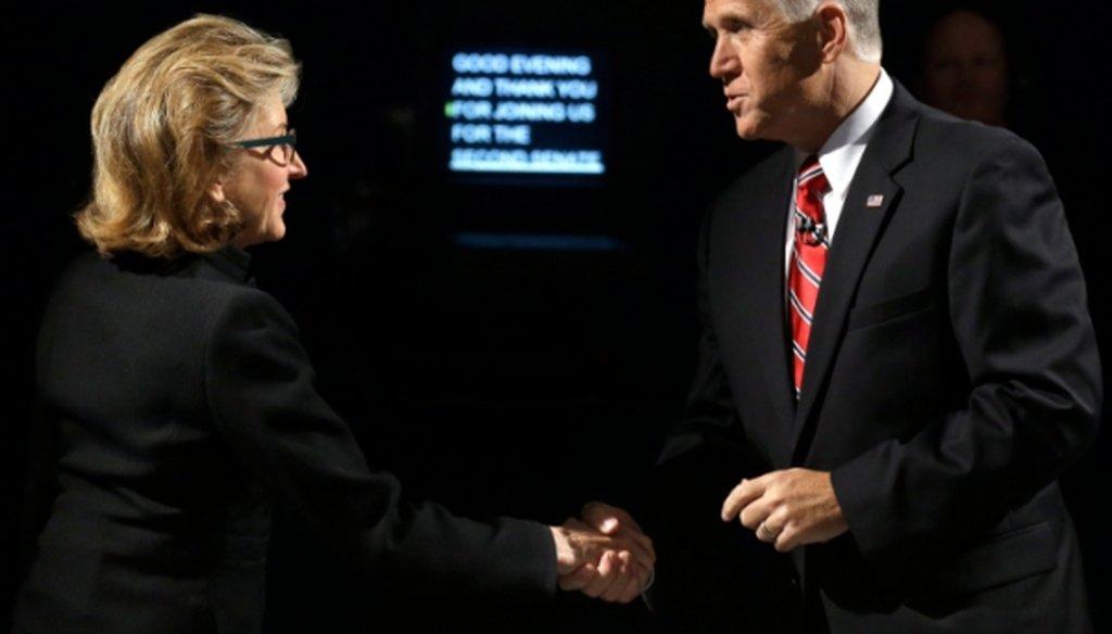 Sen. Kay Hagan, D-N.C., and North Carolina Republican Senate candidate Thom Tillis greet prior to a live televised debate at UNC-TV studios in Research Triangle Park, N.C.