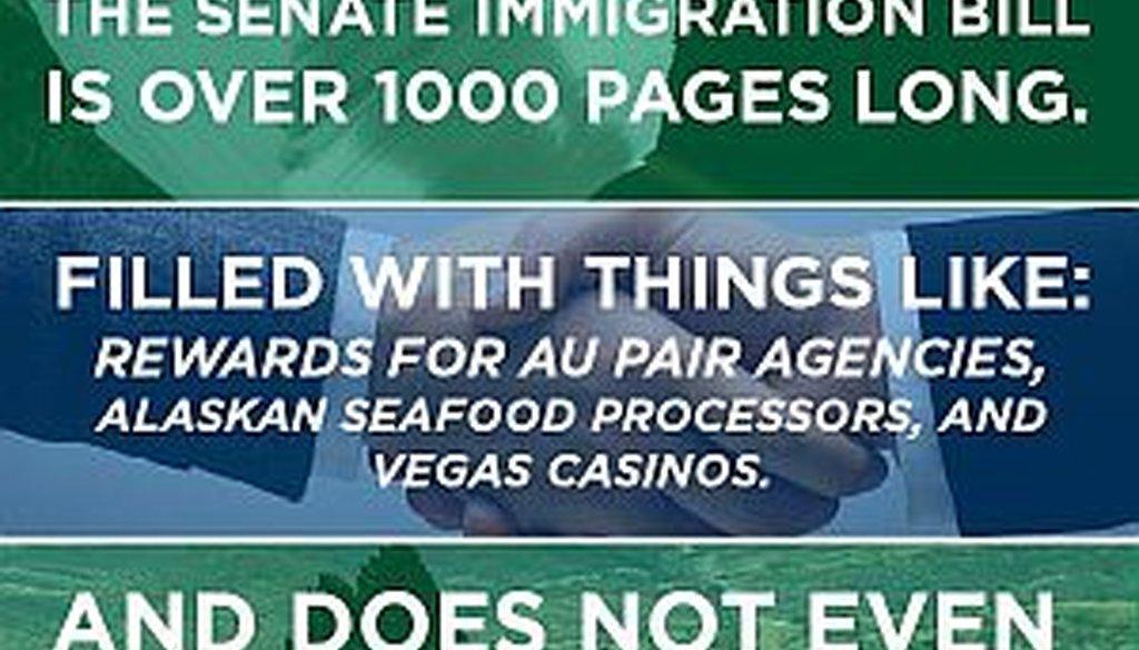 U.S. Senate candidate Karen Handel blasted the Senate's immigration reform bill in a July 18, 2013 Twitter post.