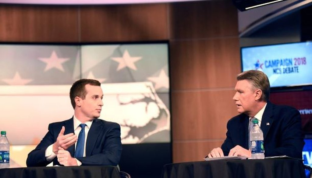 Congressional District candidates Dan McCready and Mark Harris take part in a WBTV and Charlotte Observer debate on Wednesday, October 10, 2018. (courtesy of the Charlotte Observer)