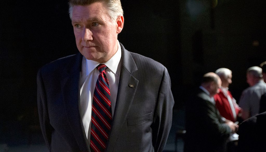Rev. Mark Harris, who's running for North Carolina's 9th Congressional District, pauses following a debate among Republican U.S. Senate candidates at Hephzibah Baptist Church in Wendell in 2014.