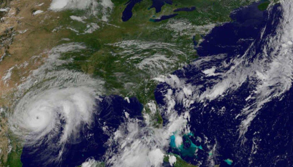 A satellite image of Hurricane Harvey approaching the coast of Texas on Aug. 25, 2017. (NASA/NOAA)