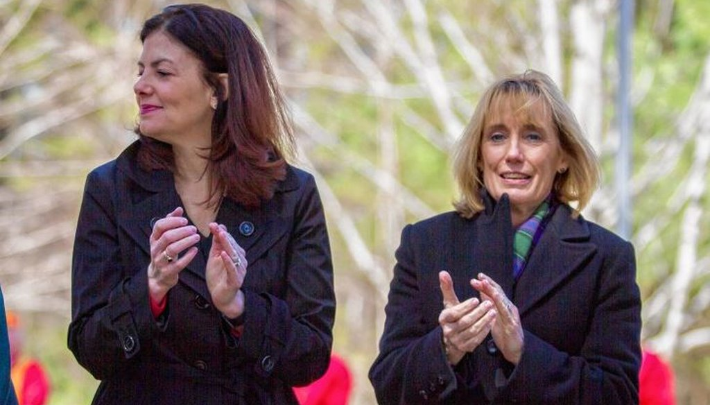 Sen. Kelly Ayotte (left) and Gov. Maggie Hassan attended a dedication ceremony for the U.S. Marine Raiders monument at the New Hampshire State Veterans Cemetery in Boscawen on Saturday. Elizabeth Frantz / Monitor staff