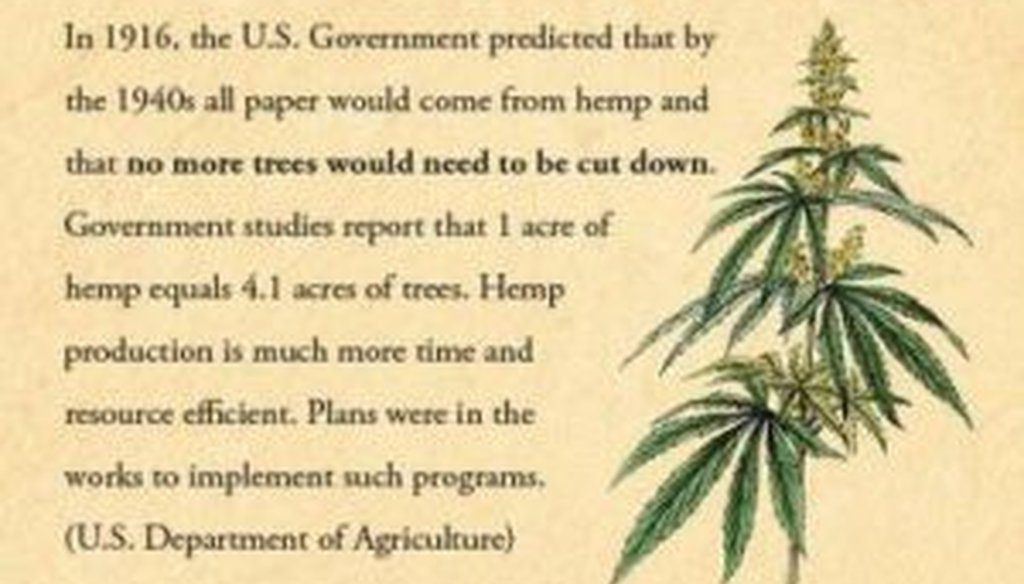 A reader sent us this Internet meme on a government prediction about hemp cultivation 98 years ago. Is it accurate?