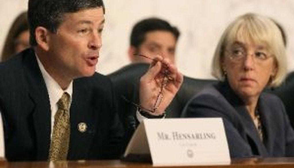 Rep. Jeb Hensarling, R-Texas (left) co-chairs the so-called Supercommittee that's charged with finding $1.5 trillion in deficit reduction by Thanksgiving. His co-chair is Sen. Patty Murray, D-Wash. (right).