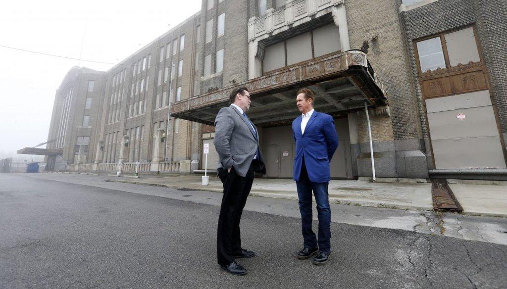 Architect Bob Stark and Congressman Brian Higgins at the Central Terminal in Buffalo Thursday, March 27, 2017. (Mark Mulville/Buffalo News)