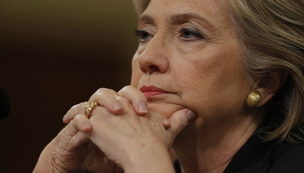 Former Secretary of State Hillary Clinton waits to testify at the House Select Committee on Benghazi Oct. 22, 2015. (Getty Images)