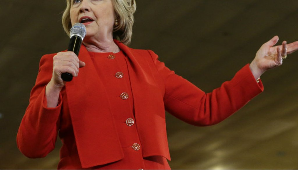 Democratic presidential candidate Hillary Clinton speaks to supporters Wednesday, April 13, 2016, in the Bronx borough of New York. Frank Franklin II / AP
