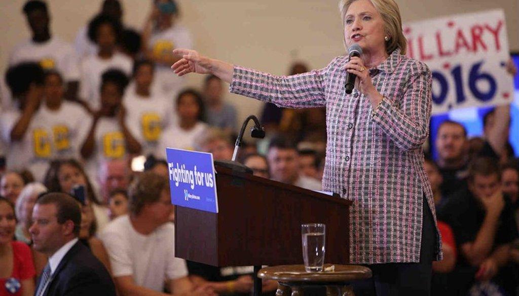Hillary Clinton speaks June 5, 2016 at Sacramento City College. Andrew Nixon / Capital Public Radio