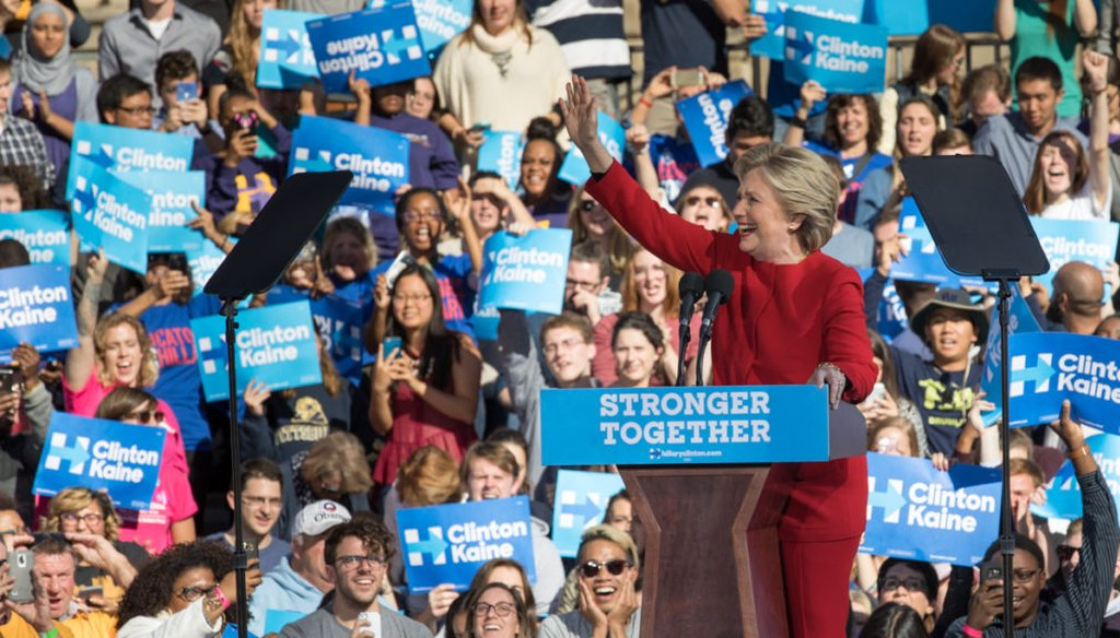 Hillary Clinton at the University of Pittsburgh.
