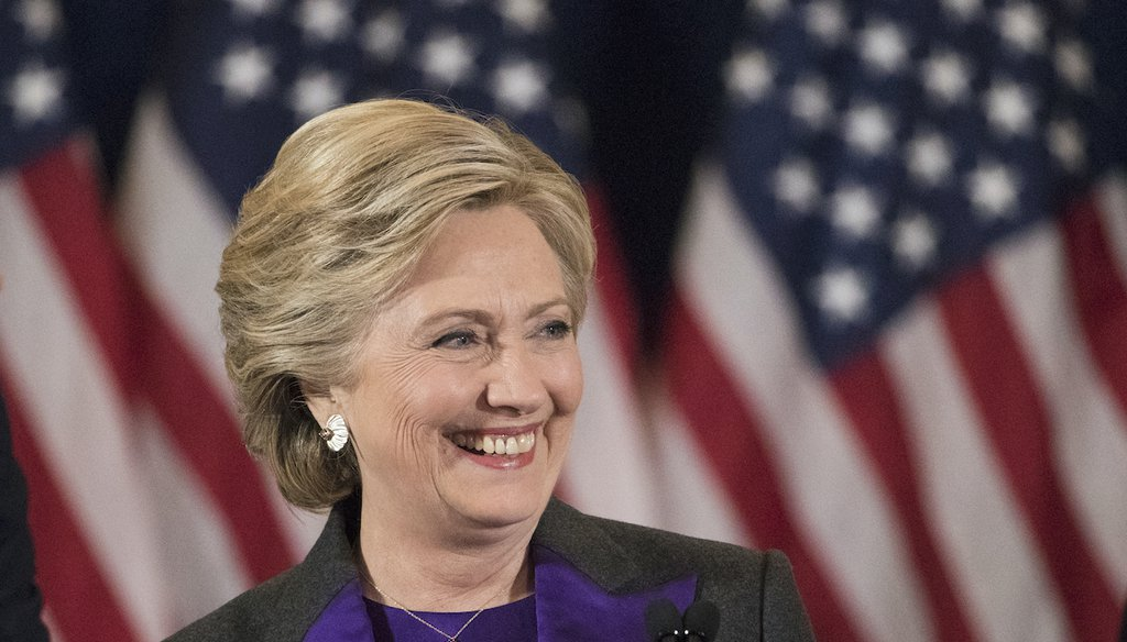 In this 2016 file photo, Democratic presidential candidate Hillary Clinton speaks in New York on Nov. 9, 2016, where she conceded her defeat to Donald Trump after the hard-fought presidential election. (AP)