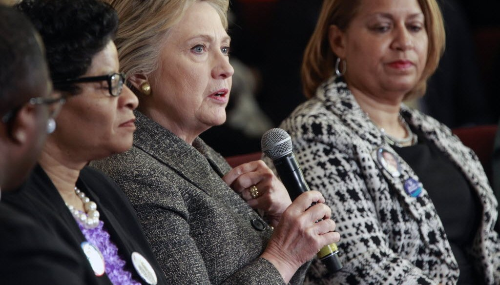 Hillary Clinton (with microphone) brought her presidential campaign to Milwaukee on March 29, 2016 and attended a forum on gun violence. (Angela Peterson photo)