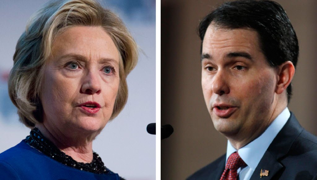 Hillary Clinton and Scott Walker have traded charges over voting rights. (AP photos)