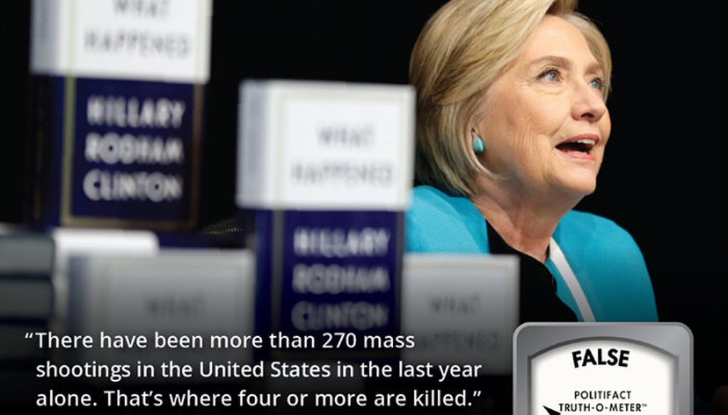 Hillary Clinton made her False claim about mass shootings during a speech Oct. 9, 2017 at UC Davis.