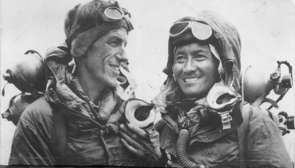Edmund Hillary and Tenzing Norgay in 1953. (Wikimedia Commons)