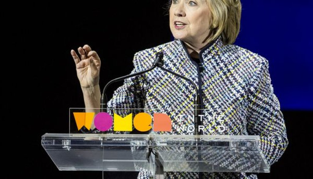 Democratic presidential hopeful and former Secretary of State Hillary Clinton addresses the Women in the World Conference on April 23, 2015, in New York City.