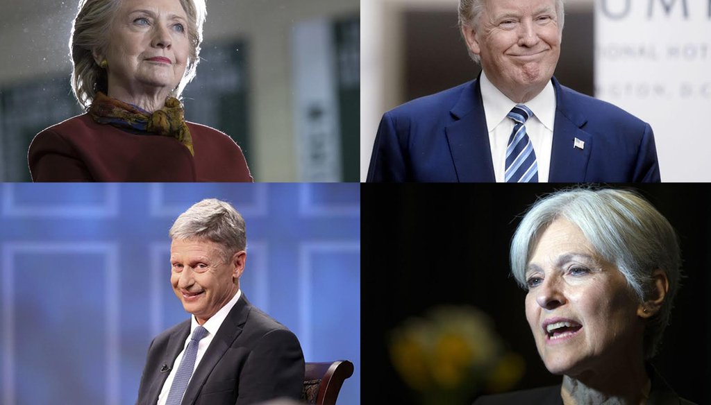 (From left to right) Hillary Clinton, Donald Trump, Gary Johnson and Jill Stein. (AP Photo/Mary Altaffer; Olivier Douliery; Ryan M. Kelly;AP Photo/D. Ross)