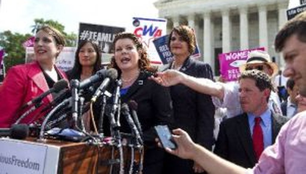 Lori Windham, the lead attorney for Hobby Lobby, speaks after a 5-4 ruling in the retailer's favor, outside the Supreme Court on June 30, 2014.