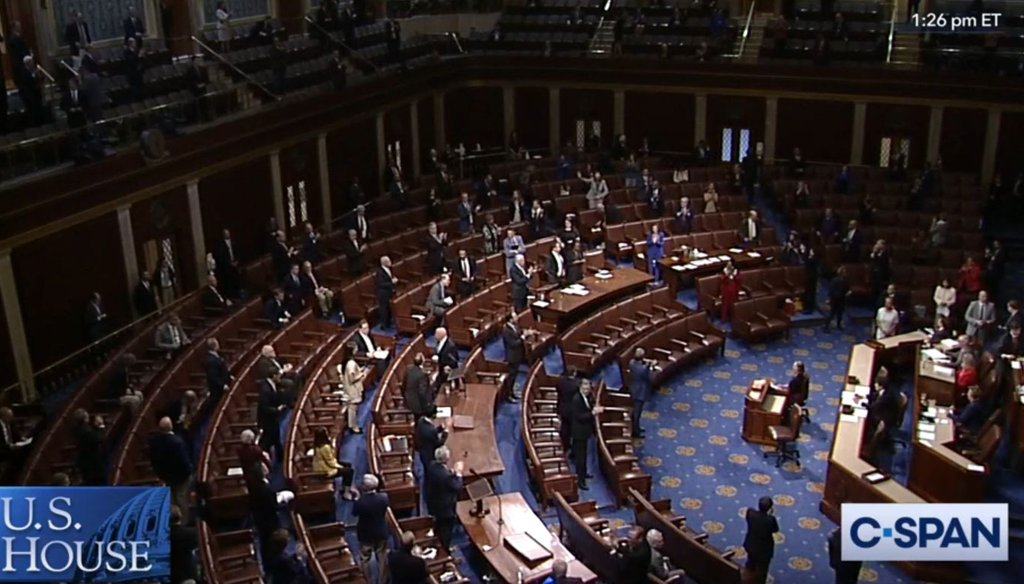 The U.S. House chamber, with members socially distanced, shortly after passage of a $2 trillion-plus coronavirus relief bill on March 27, 2020. (C-SPAN)