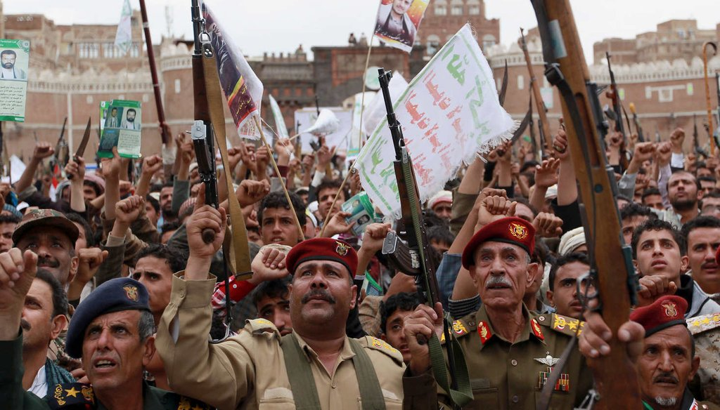 Shiite rebels, known as Houthis, protest against Saudi-led airstrikes, during a rally in Sanaa, Yemen. Iranian support for the Houthis adds new challenges for American diplomacy. (AP)