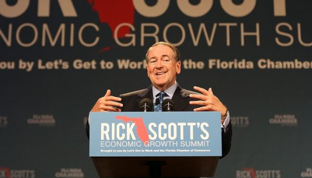 Former Arkansas Gov. Mike Huckabee speaks during Florida Gov. Rick Scott's economic growth summit in Orlando on June 2, 2015.