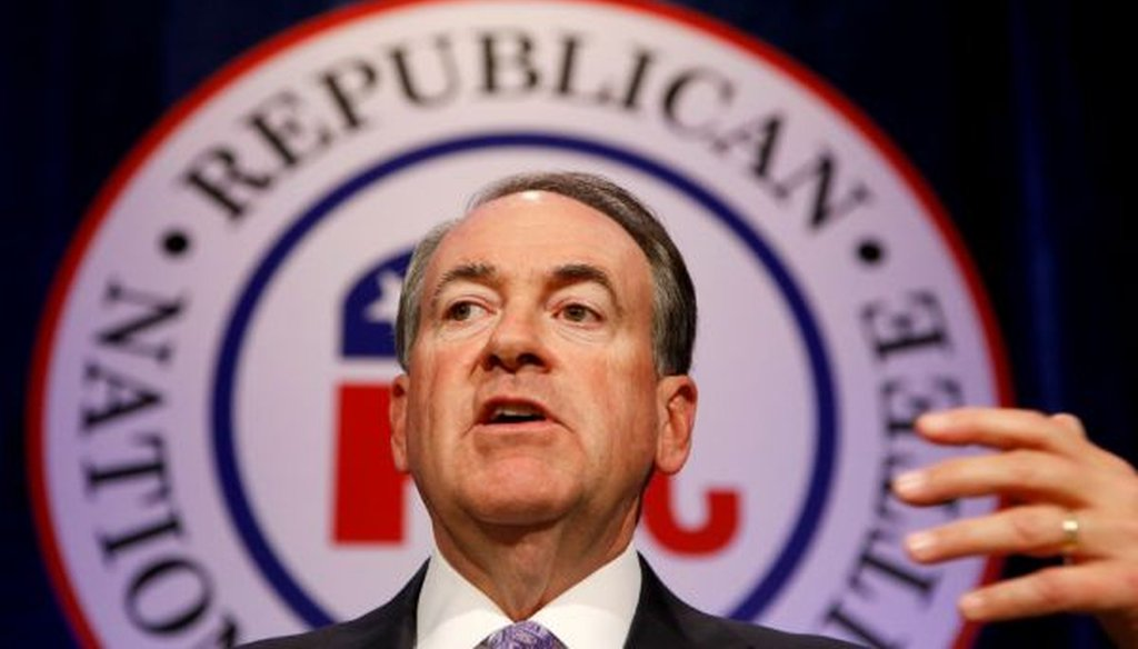 Republican presidential candidate Mike Huckabee speaks at the Republican National Committee spring meeting luncheon on May 15, 2015, in Scottsdale, Ariz.